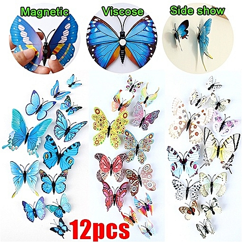 12pcs 3D Simulation Of Butterfly Wall Creative Decoration