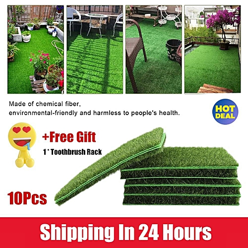 【Free Gift】10 PCS Artificial Grass Mat Turf Lawn Garden Micro Landscape  Ornament Home Decor