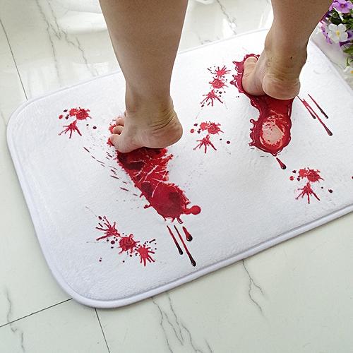 Halloween Terror Blood Footprints Non-slip Floor Mat Bathroom Kitchen Bedroom Doormat Carpet Decor