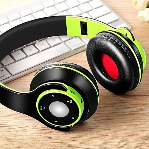Generic Wireless Bluetooth Foldable Headset Stereo Headphone Earphone For IPhone Samsung Green