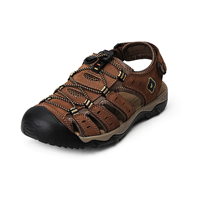 cca685e596a3 Men s Sandals Toe Protect Cowhide Summer Casual Shoes Outdoor Hiking Beach  Shoes