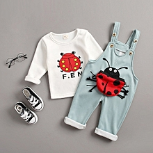 1e37947205c Spring And Autumn 0-4 Years Old Baby Clothes Cartoon Ladybug Tops Velvet  Bib Lightblue