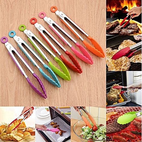 Stainless Steel Silicone Kitchen Tongs BBQ Clip Salad Bread