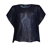 956545bf51e81 Favorito Embossed Chiffon Frill Sleeve Blouse - Black