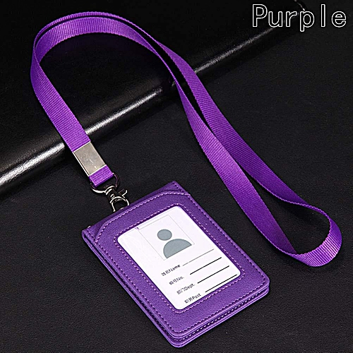 Leather Wallet Credit Card Badge Holder With Lanyard And 3 Slots Fit For ID Card Purple