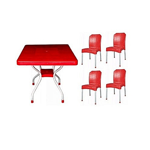 Square Table With 4 Aluminium Curved Legs & Aluminium Leg Chairs - Red