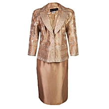 Ladies Dress And Jacket Set - Deep Cream And Light Cream Inner
