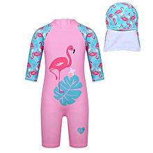 e4071385f45af Girls 3/4 Sleeve Flamingo Printed Swimsuit With Cap 2Pcs Set