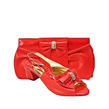 f4172509ae5 Ladies Low Heel Shoes and Bag Set with Bow Detail - Red