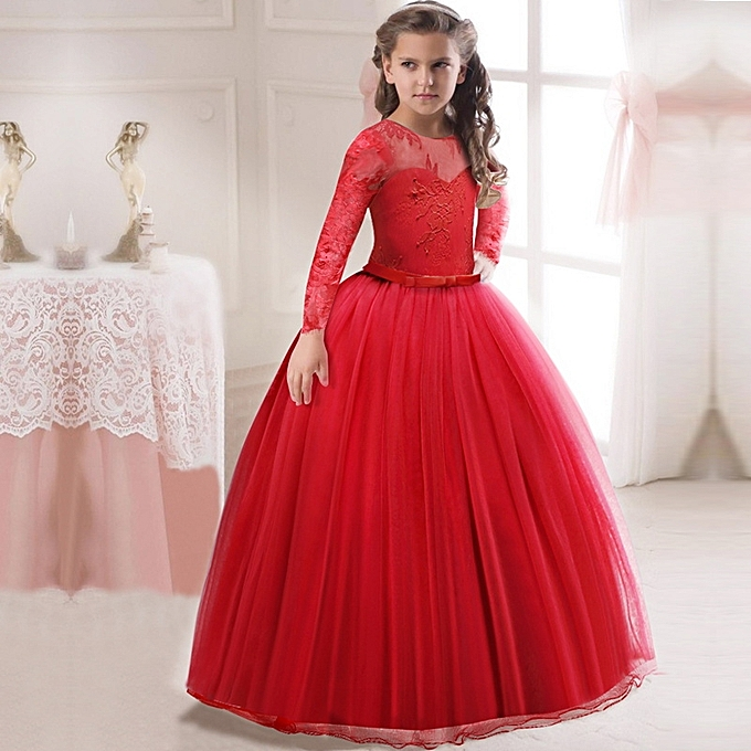 509f5876d Fashion Red Wedding Dresses For Little Girl Long Ball Gowns Girls ...