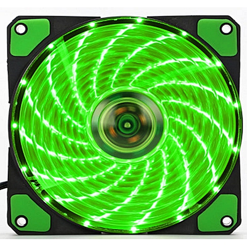 Muliawu Store 15 LED Light Quite 120mm DC 12V 4Pin PC Computer Case Cooling Cool Fan Mod GN-green