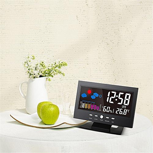Mrosaa LCD Weather Station Thermometer Alarm Clock Hygrometer Digital Clocks Calendar Electronic Colorful Screen Table Clocks
