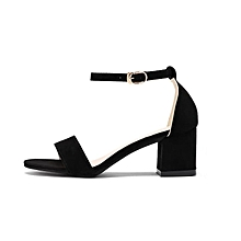 7a42872130d4 Women Single Heel Sandal Ankle Strap Sandals Shoes-Black