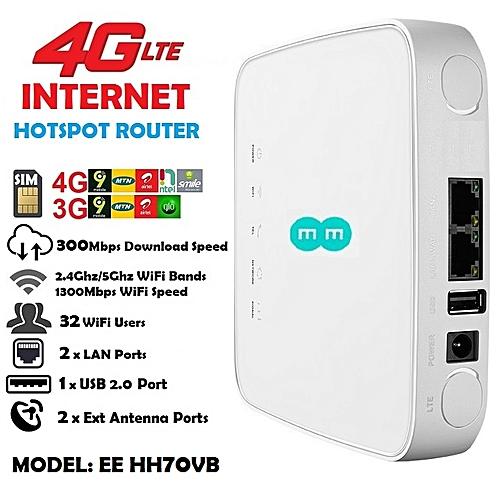Universal 4G LTE SIM + WiFi + 2xLAN Internet Router For Smile, Ntel, MTN, Airtel, 9Mobile