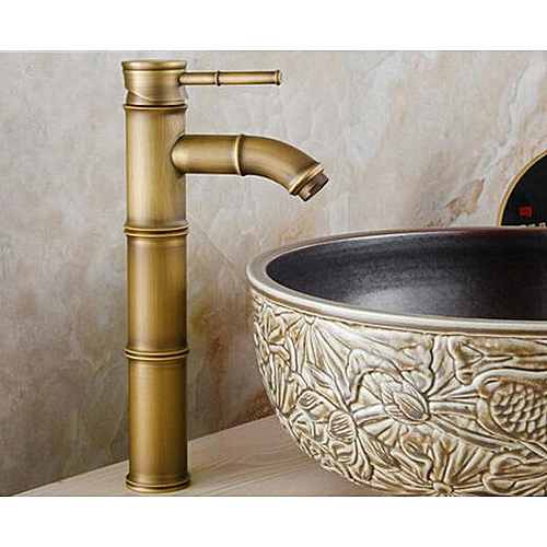 European Bathroom Sink Basin Faucet Bamboo Style Wash Basin Vintage Mixer Taps Antique Brass Water Tap Hot And Cold