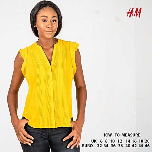 Women V-neck Top - Yellow