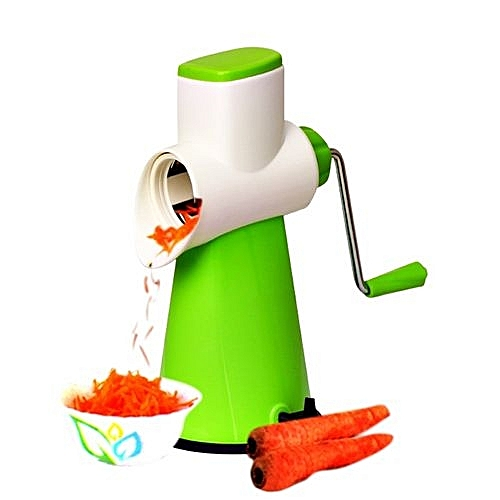 Multi-function Vegetable Slicer With 3 Interchangeable Blades - Green