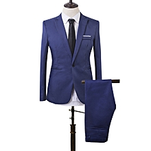 5df6d8562bb Men Slim Fit Business One Button Formal Two-Piece-Lake Blue