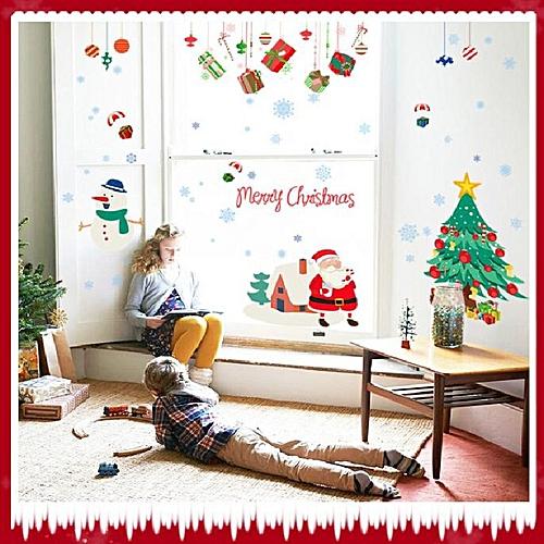 Happy New Years Window Santa Claus Cristmas Tree Wall Stickers