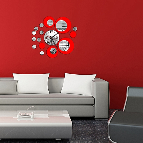 Dtrestocy Red Circle Around 3D Wall Clock Wall Sticker DIY Art Home Decoration