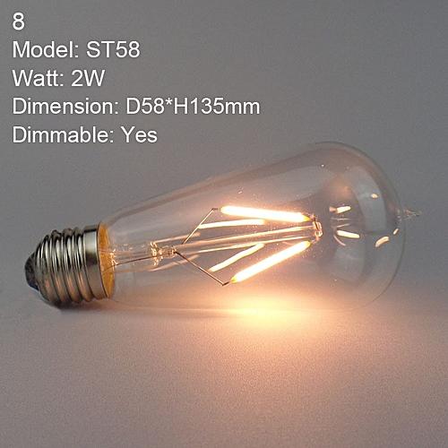 Dimmable E27 Edison Vintage Warm Yellow LED Bulbs Filament COB Lamp Retro Globe Lighting AC 220V #08