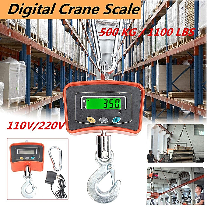 6a659ca24e01 Digital Crane Scale 500 KG / 1100 LBS Heavy Duty Industrial Hanging Scale
