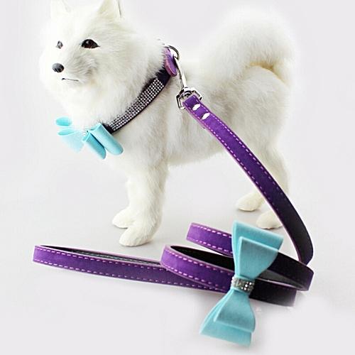 Flocking Diamond Studded Bowknot Pet Collar Dog Collar Pet Products, Size: M, 2 * 42cm(Purple)