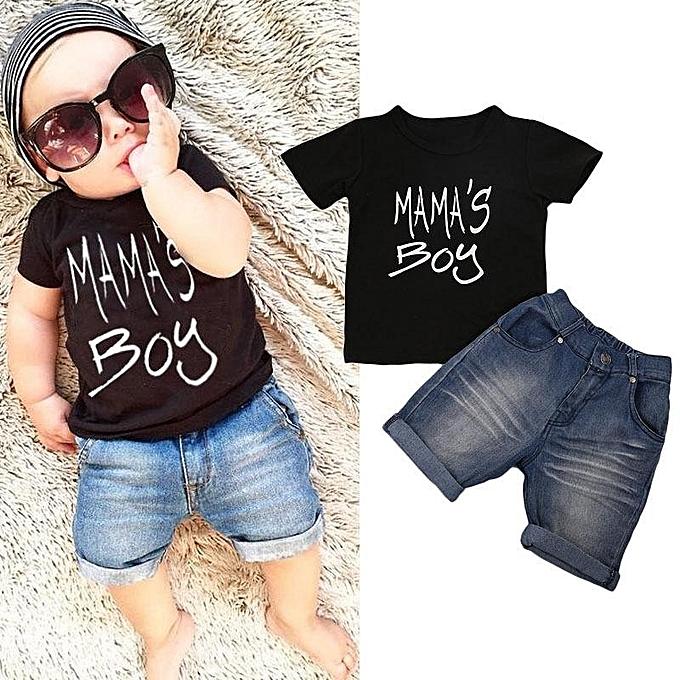 828bde5c7ef Fashion Toddler Kid Baby Boy Clothes T-Shirt Top Denim Shorts Pants 2pcs  Outfit Set
