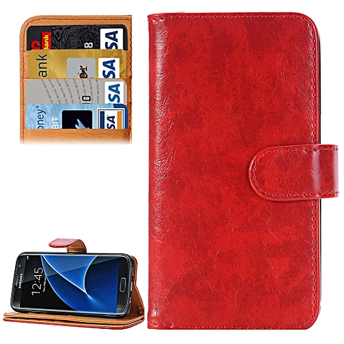 Generic For Samsung Galaxy S7/G930 Crazy Horse Texture Horizontal Flip Leather Case With 3 Pages Of Card Slots & Wallet & Holder (Dark Red)
