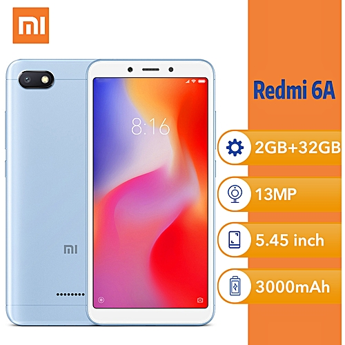 "Redmi 6A 5.45"" (2GB,32GB ROM) Android 5MP+13MP - Blue"