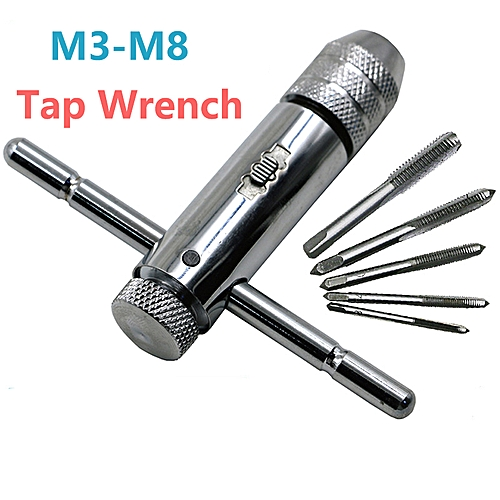 M3-M8 Tap Wrench T-Handle Ratchet Screw Wrench Thread Plugs