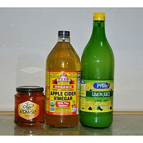 Apple Cider Vinegar Organic 946ml, 32oz+ Rowse Honey 340g + Lemon Juice 1litre