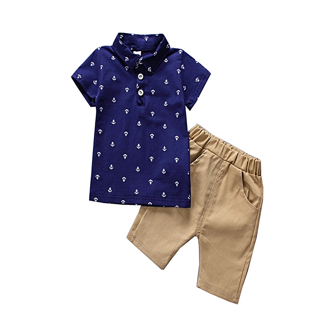 aba37e69726c Boys Summer Spring Polo Shirt Boy Suit For Children Clothing Set  Short-sleeved Kids T Shirt+shorts 1-5 Year Boys Clothes 2pcs Blue White