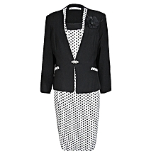 Unique Black And White Polka Dot Ladies Dress Suit