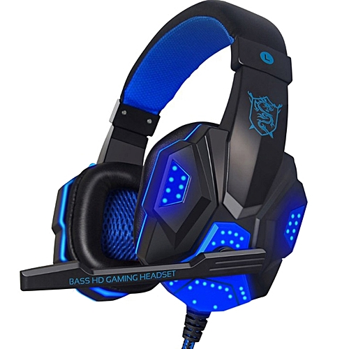 Gaming Headsets Luminous Double Plug Headphones With Mic - Blue