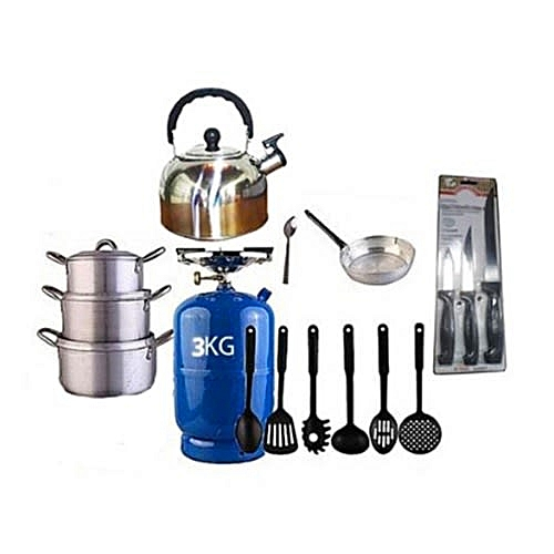 Economy Kitchen Bundle (3kg Gas Cylinder + Set Of 3 Pots + 1 Kettle + 1 Frying Pan + 1 Set Of Non-stick Frying Spoons + 1 Small Knife + 1 Set Of Table Spoons)
