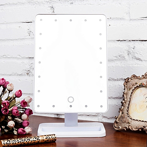 Beauty Cosmetic Make Up Illuminated Desktop Stand Mirror With 20 LED Light White
