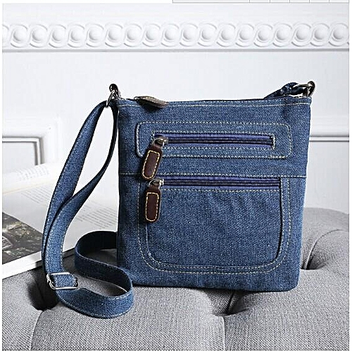 Women Blue Denim Shoulder Bag Jean Purse Vintage Messenger Crossbody Zip Handbag