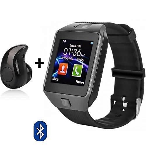 Smart Watch With Mini Buetooth Earpiece Camera SIM Card Slot; Men Women Fashion Bluetooth Smart Watch Phone & Camera Support GSM SIM Card Mate Sports Bluetooth Camera Recording Smart Watch Wristwatch -Black