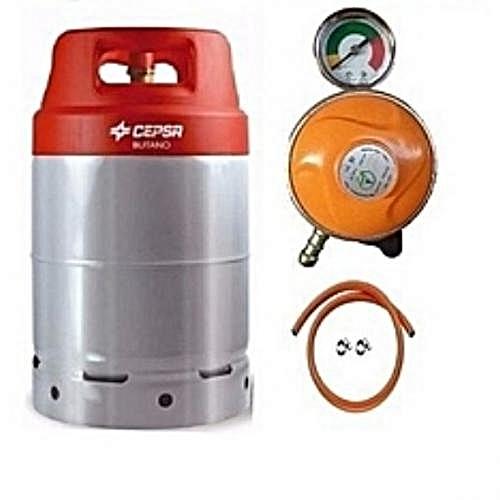 Gas Cylinder 12.5 + Metered Regulator + Hose & Clip