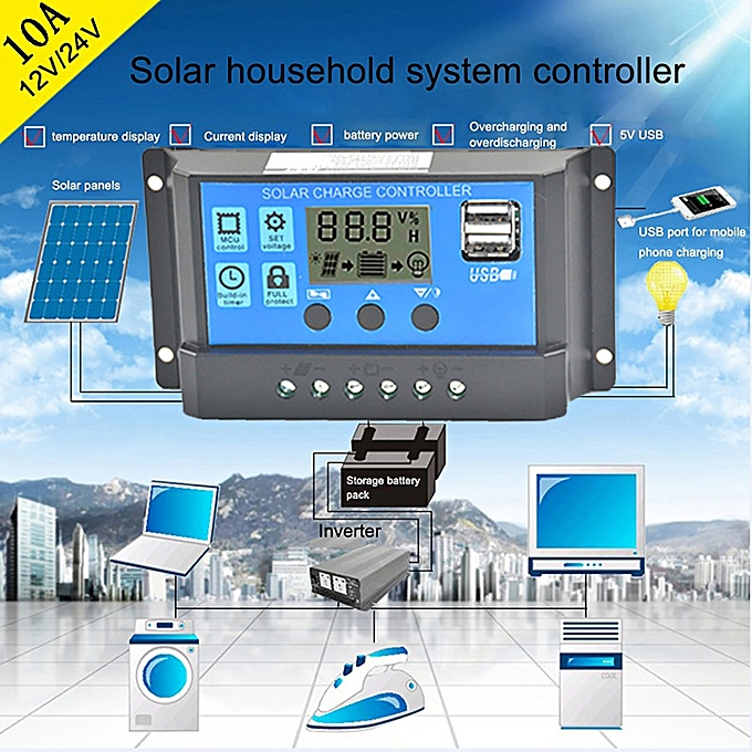 Buy Generic Fusojkh Solar Panel Regulator Charge Controller USB 10A ...