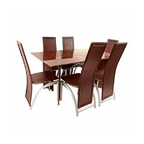 Ultimate 6 Seater Dining Table & Chair Set - Brown