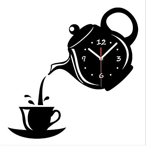 Fashion DIY 3D Wall Clock Acrylic Coffee Cup Teapot Shape Decorative Wall Clocks