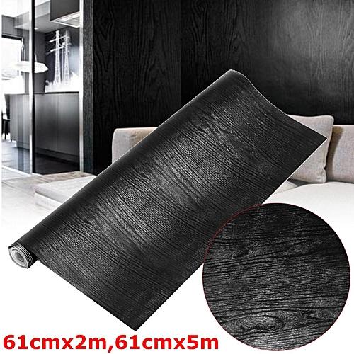 61cm*2m Black Wood Looking Textured Self Adhesive Decor Contact Paper Vinyl Shelf Liner