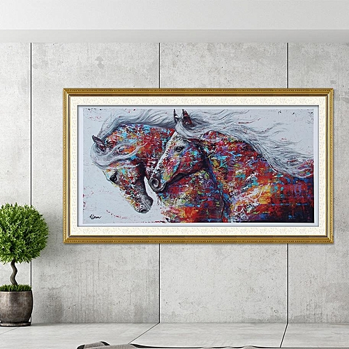 Mordern Canvas Painting Printed Picture Wall Art For Home Office Decor (40*80cm Colorful Horse)