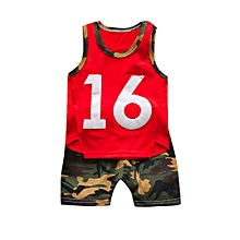 c1086ea59 Baby Outfit Toddler Baby Boy Camouflage T-shirt Vest Tops Shorts Pants  Outfits Clothes Sets