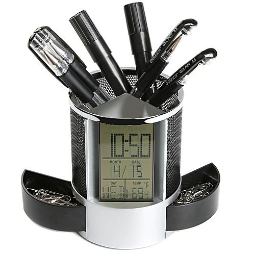 Loskii DX-111 Black Digital LED Desk Alarm Clock Mesh Pen Pencil Holder Calendar Timer Temperature