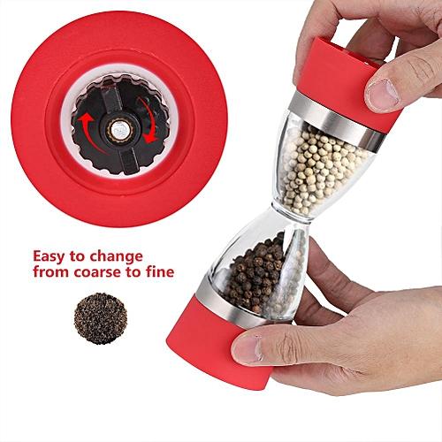 2 In 1 Double-ended Manual Kitchen Salt & Pepper Mill Grinder Adjustable Ceramic Rotor (Red)