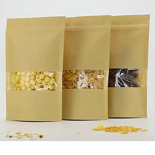 50pcs Kraft Paper Stand Up Resealable Package Pouch With Window