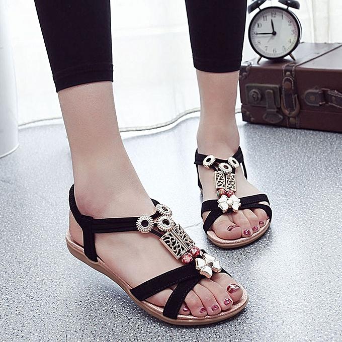 Fashion Boho Lightningfashion Women Flat Sandals Leather zrYzw4q